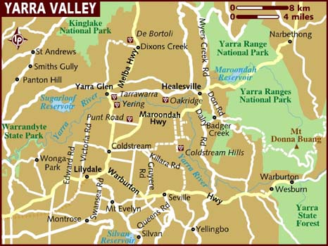 Map of Yarra Valley