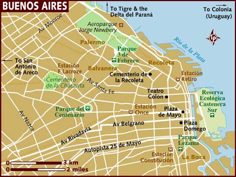 Map Of Buenos Aires - Argentina map lonely planet