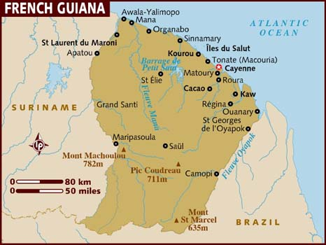French Guiana Map Map of French Guiana