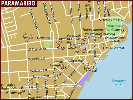Map Of Paramaribo - paramaribo map