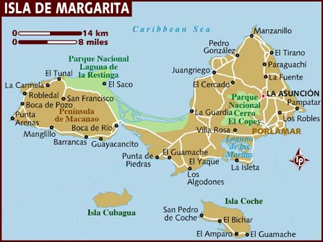 Map of Isla de Margarita
