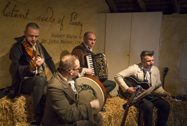 The Borland Ceilidh Band play at Burns Cottage in Alloway, Scotland, where Scottish poet Robert Burns was born, ahead of the Burns Night celebrations.