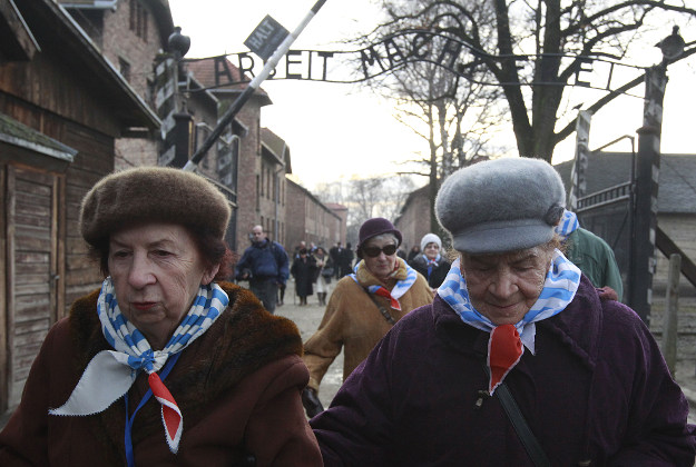 Holocaust survivors arrive to attend ceremonies commemorating the people killed by the Nazis at the former Auschwitz Nazi death camp in Oswiecim, Poland, Wednesday, Jan. 27, 2016, the International Holocaust Remembrance Day that marks the liberation of the Auschwitz Nazi death camp on Jan. 27, 1945.