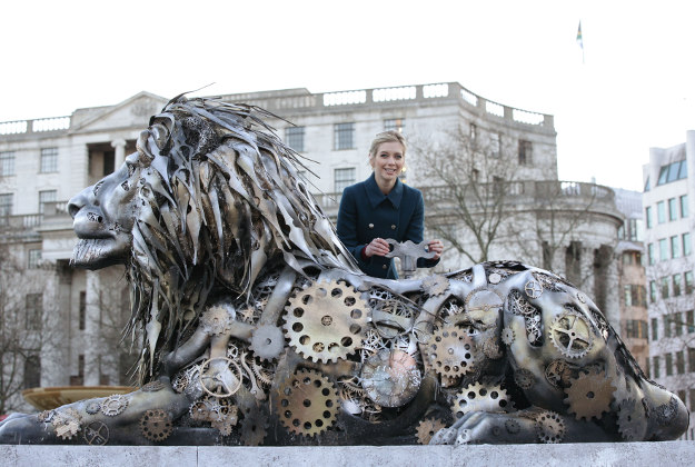 Rachel Riley at the unveiling of a fifth lion statue - sculpted from clock parts as a warning of possible extinction of the species within our lifetime - in Trafalgar Square, London.