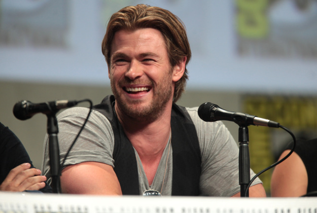 "Chris Hemsworth speaking at San Diego Comic Con for ""Avengers: Age of Ultron""."