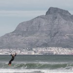 A kite surfer off the coast of Cape Town.