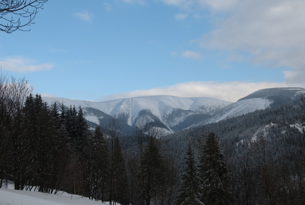 Views over the Krkonoše Mountains in the Czech Republic.