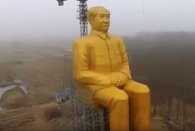 The gold statue of Mao Zedong stands 36 metres tall