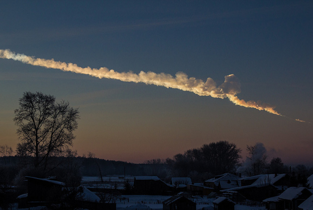 Meteor trace in the Urals, Russia, 2013.