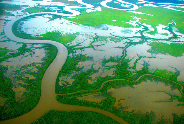 The Mitchell River delta on the Gulf of Carpentaria, Queensland.