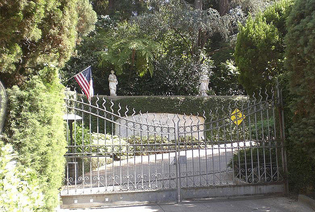 The gates to the infamous Playboy mansion in LA