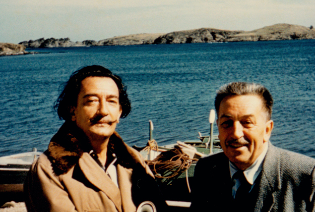 Salvador Dali and Walt Disney by the beach in Spain, 1957.