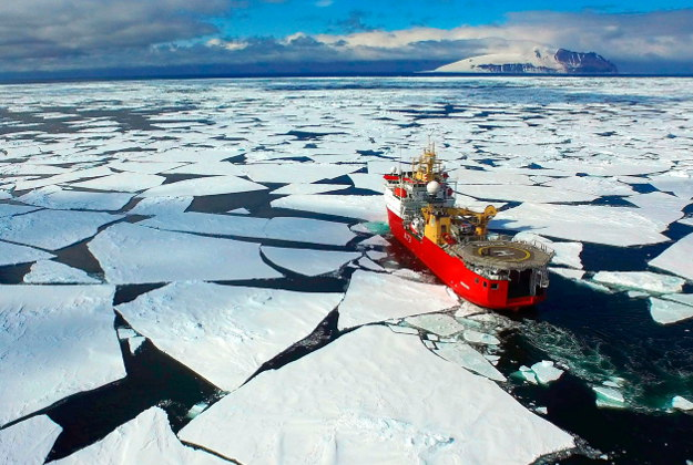 Royal Navy HMS Protector in the Ross Sea