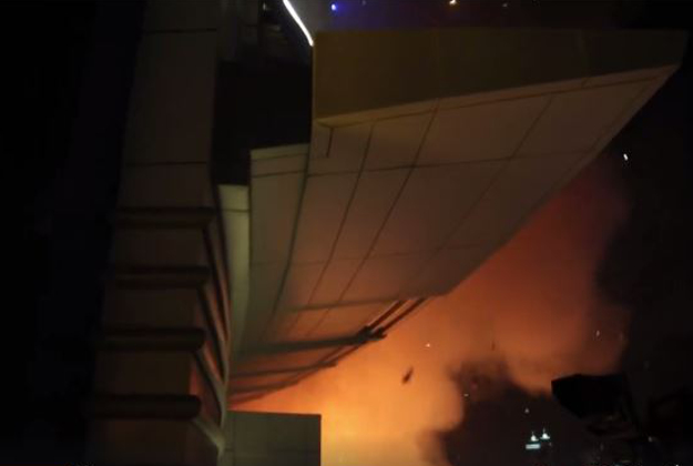 Video image of a fire in a Dubai hotel taken by Dennis Mallari, a photographer who was trapped in the building.