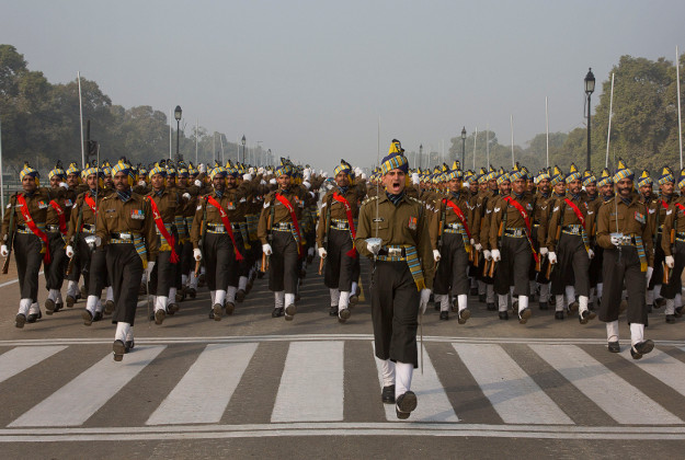 Indian soldiers marching in New Delhi ahead of India's independence celebrations