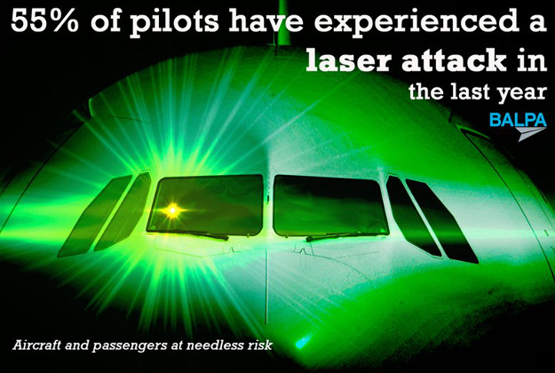The British pilot's association posted on Twitter that more than half of pilots experienced a laser attack in the last year.