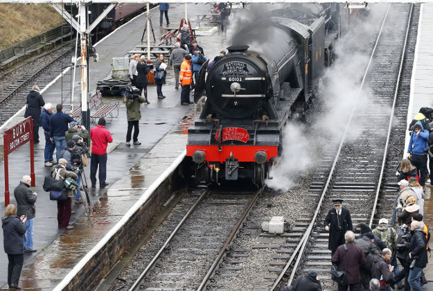 The Flying Scotsman locomotive under steam at the East Lancashire Railway tracks in public for the first time after the successful completion of a decade-long £4.2m restoration project.