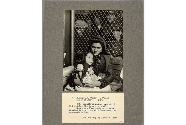 Caption: Mother and child - Italian Ellis Island - 1905. This beautiful mother and child sit outside the detention cell. Sometimes 1700 immigrants were crowded into a room which was built to accommodate 600.