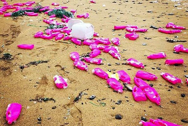 Pink bottles containing detergent that is potentially damaging to the environment have been found in Cornwall