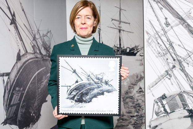 Alexandra Shackleton, granddaughter of Ernest Shackleton with an enlarged stamp from their set of Special Stamps to mark the story of survival of Shackleton and the crew of the Endurance.