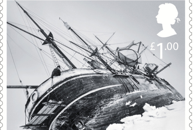 new stamp showing the Endurance trapped in a pressure crack in the ice, before it is crushed, October 1915.
