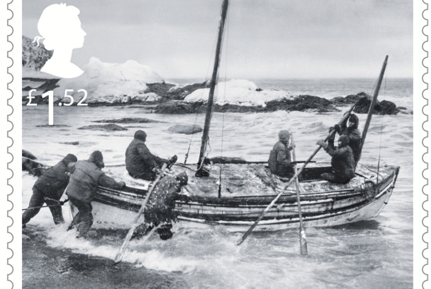 Ernest Shackleton and five crew set out for South Georgia in the modified lifeboat James Card, April 1916, part of their set of Special Stamps to mark the story of survival of Shackleton and the crew of the Endurance.
