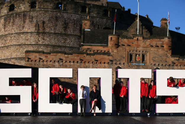 "First Minister Nicola Sturgeon with children from Tolcross Primary School at Edinburgh Castle esplanade as Visit Scotland launches its new VisitScotland campaign. Sturgeon is supporting the campaign along with stunt biker Danny MacAskill, Social Bite entrepreneur Josh Littlejohn and Olympic athlete Laura Muir - people said to ""embody the spirit of Scotland""."