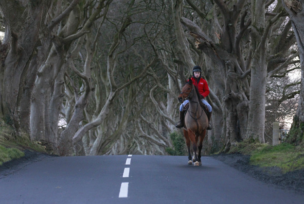 A horseman rides along Bregagh Road, Dark Hedges, Armoy, Northern Ireland, Wednesday. The iconic tunnel of trees that features as the Kingsroad in the smash-hit television series Game of Thrones has been painted with white line road markings in error by a contractor.
