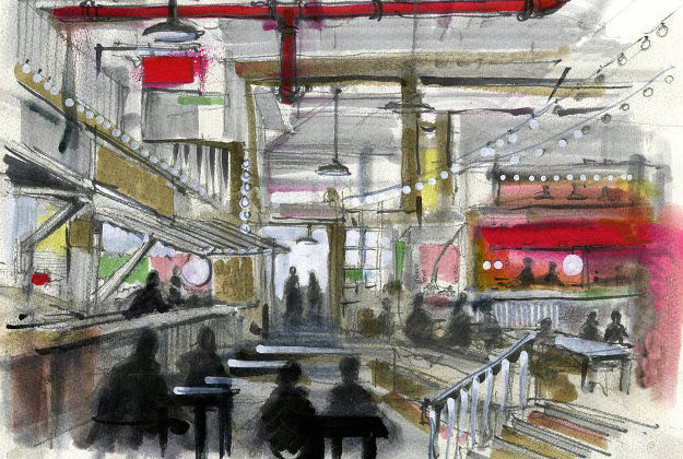 Caption: artist rendering of a portion of #bourdainmarket, art by @romanandwilliams #aleschart