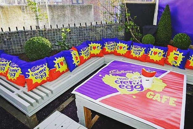 """Caption: """"We think our Creme Egg Garden is pretty crackin' #CremeEggCafe #HaveaFling"""""""