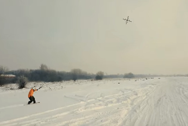 Drone boarding could be the new craze in adventure sports. Image by Screengrab via YouTube