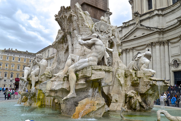 The fountain where a naked man was