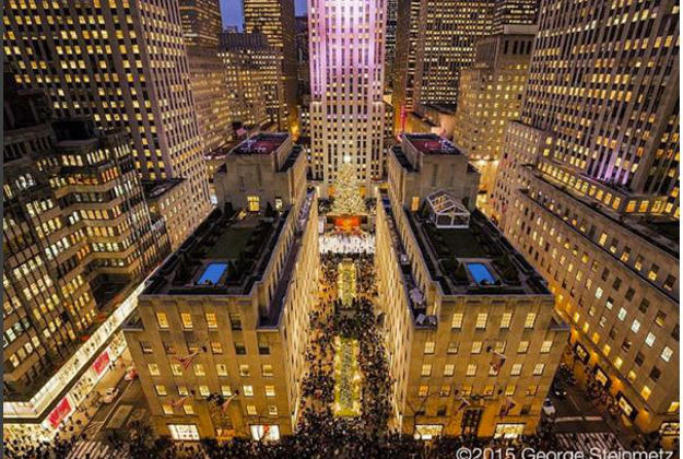Rockefeller Centre at Christmas from New York Air.