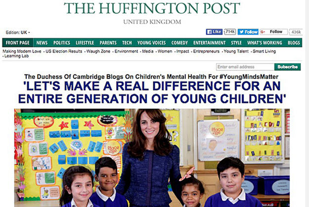 Duchess of Cambridge takes over The Huffington Post for a little while