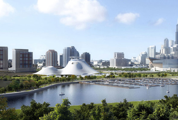 Concept drawing for the Lucas Museum of Narrative Art in Chicago.