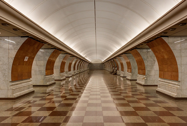 Park Pobedy Metro Station in Moscow, Russia.