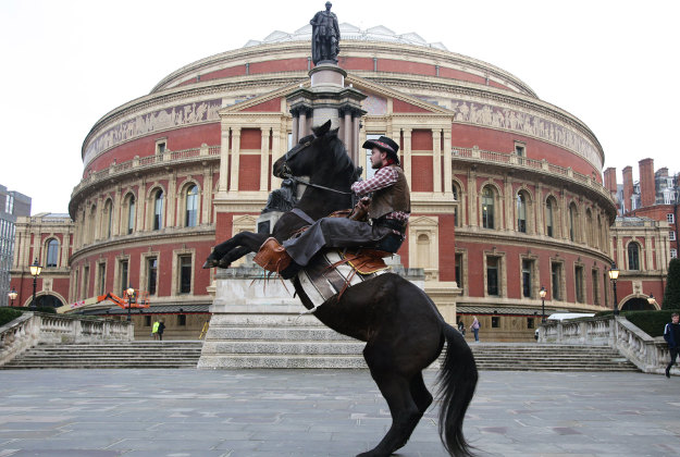 Ollie Bass and his horse Rocky pose on the steps of the Royal Albert Hall