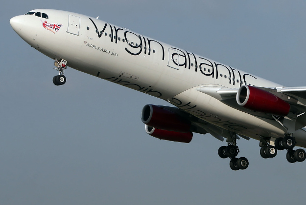 A Virgin Atlantic Airbus A340-300 plane similar to a New York-bound flight which had to turn back to Heathrow after the co-pilot reported feeling unwell following an incident with a laser.