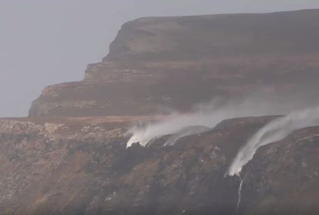 Waterfalls appear to reverse directions in strong winds.