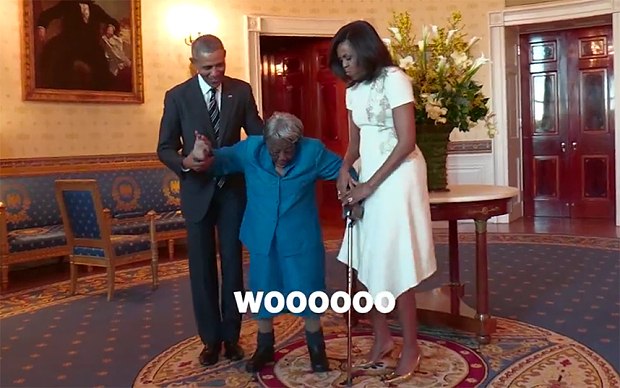 The 106-year-old got in her groove with the first couple  Image by: White House Facebook