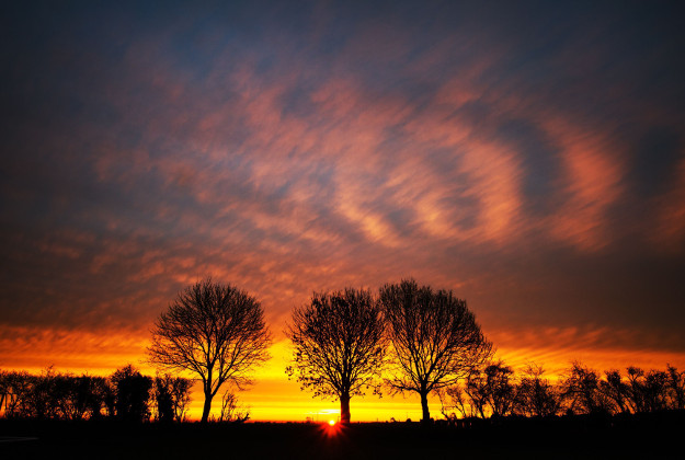 The sunrise over Bingham, Nottinghamshire, as signs of spring will start to show at the end of this week with climbing temperatures across the UK. The Met Office said there will be more sun and increasingly mild conditions nationwide, with levels rising from Thursday as a tropical maritime air travels up.
