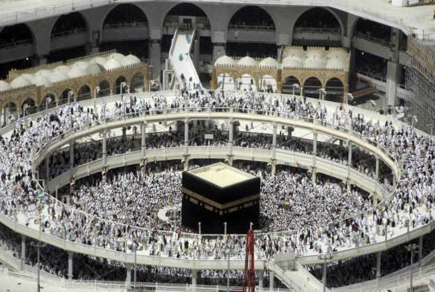 Muslim pilgrims circumambulate the Kaaba, the cubic building at the Grand Mosque, during the minor pilgrimage, known as Umrah, in the Muslim holy city of Mecca, Saudi Arabia, Thursday, March 10, 2016,.