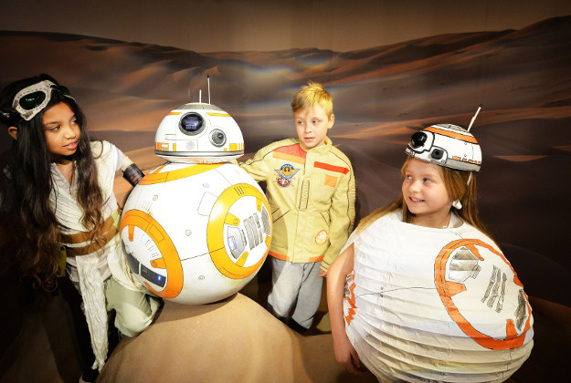 Leilani Gordon, Troy Hood and Darcy Dennis get to meet the Star Wars droid BB-8, which is the newest addition to the Madame Tussauds wax figures Star Wars group, going on show this coming Friday at Madame Tussauds in London.