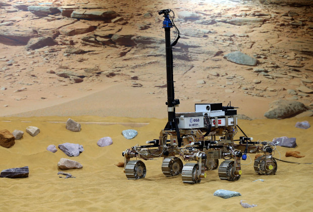 Bruno the ExoMars rover prototype on the Mars test area at Airbus Defence & Space in Stevenage, Hertfordshire.