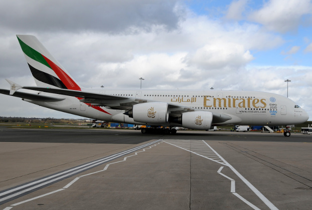 Emirates Airbus A380 lands at Birmingham airport on Sunday
