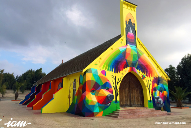 A church in Morocco painted by Okuda San Miguel.