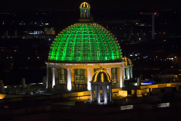 Intu Trafford Centre in Manchester is lit green to celebrate St Patrick's Day.