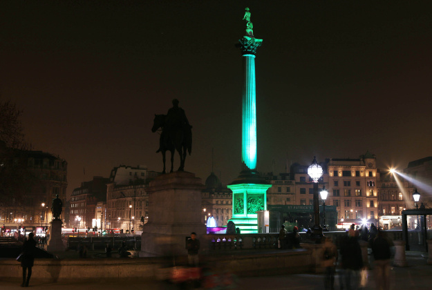 Nelson's Column in London's Trafalgar Square is lit green by Tourism Ireland to celebrate St Patrick's Day.