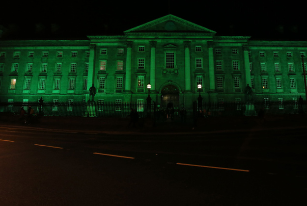 Trinity College lit up green last night for the St Patrick's festival in Dublin.