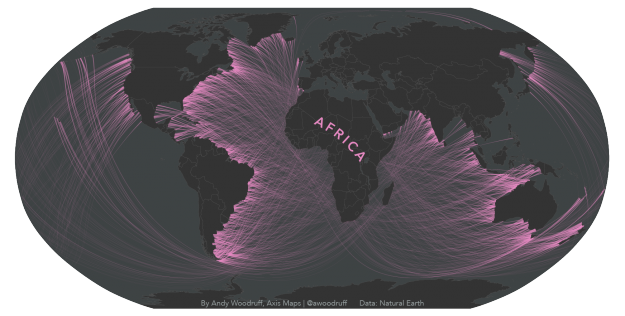 Yes, you can travel to Africa in a straight line from the US West Coast.